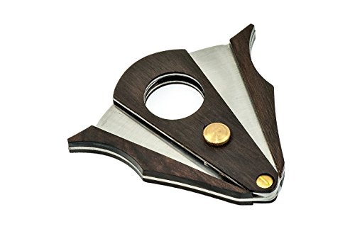 COSACASA CIGAR CUTTER STAINLESS STEEL DOUBLE CUT BLADE ZEBRA WOOD CIGAR CUTTER- BLACK GIFT BOX by Cosacasa