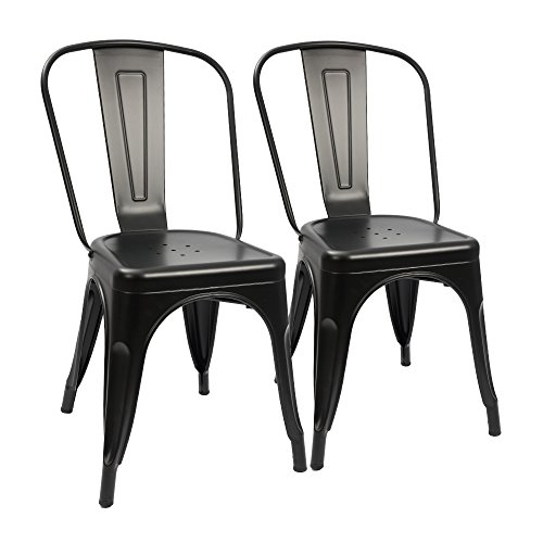 Furmax Metal Dining Chair Tolix Style Indoor-Outdoor Use Stackable Chic Dining Bistro Cafe Side Metal Chairs Black(2 pack) - Black Outdoor Dining Chair