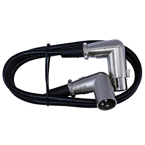 right angle XLR female to right angle XLR male cable black 03ft long
