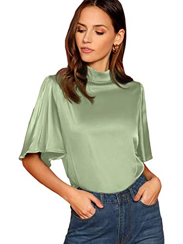 Romwe Women's Floral Print Butterfly Sleeve Mock Neck Casual Blouse Top Green-1 Large