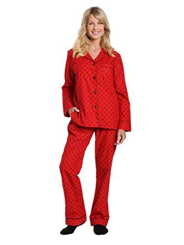 Women's Cotton Flannel Pajama Sleepwear Set - Dots Diva Red-Black - X-Large ()