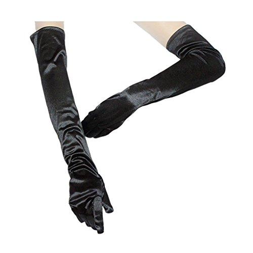 Elega (Black Extra Long Satin Gloves)
