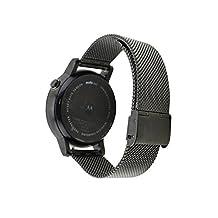Yishun 22mm Stainless Steel Mesh Adjustable Bracelet Band for Moto 360 2nd Gen 46mm Smartwatch (Black)