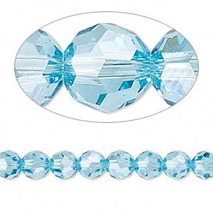 Swarovski Crystal 5000 6mm Aquamarine Faceted Round Beads - 12 Pack