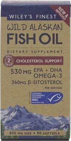Soutien de cholestérol de pétrole de l'Alaska poisson Finest Wild Wiley, 90 gélules