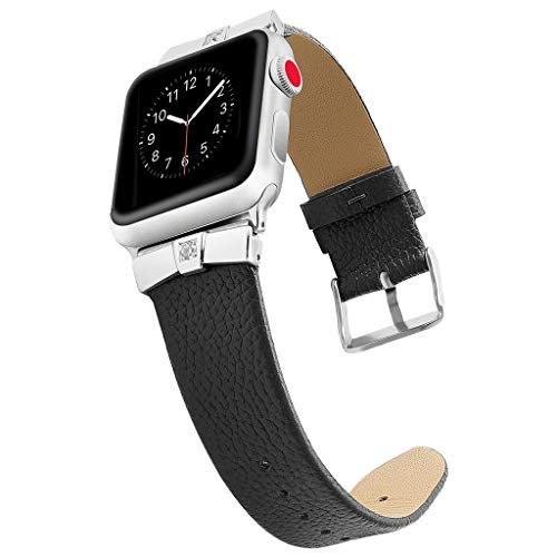 Leather Bands Compatible Watch Band Slim Replacement Wristband Sport Strap for Iwatch, Edition Stainless Steel Buckle,MmNote(Black)