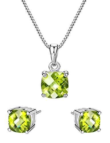 welry Set Sterling Silver Pendant Necklace Stud Earrings August Birthstone Gemstone for Women (Peridot Pendant Set)