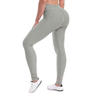 Beyondfab Women's High Waist Textured Butt Lifting Slimming Workout Leggings Tights Light Grey SM