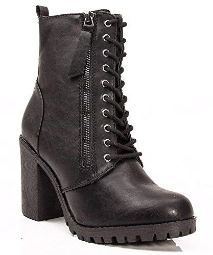 SODA Malia Vegan Round Toe Stacked Heel Ankle Booties (Black, 11 M US)