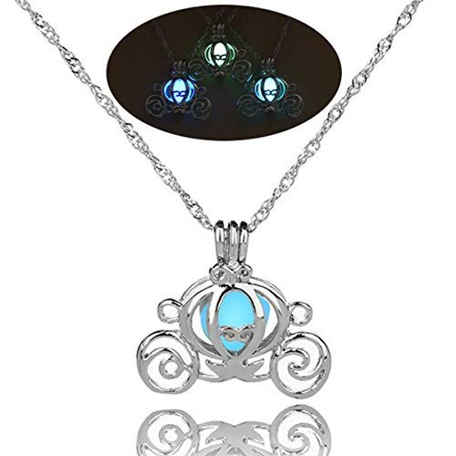 Glow in The Dark Necklace Steampunk Hollow Pendant with Chain for Women Pumpkin Carriage Blue-Green