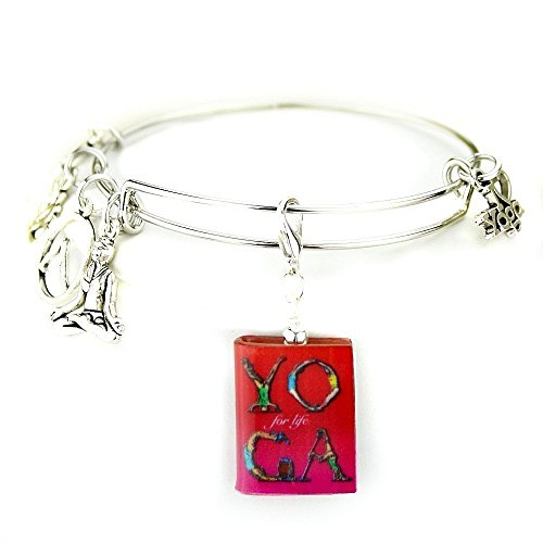 YOGA for LIFE Meditation & Exercise Clay Mini Book Expandable Bangle Bracelet by Book Beads SALE