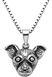 """Oxidized Sterling Silver Chihuahua Necklace w/20"""" Box Chain"""