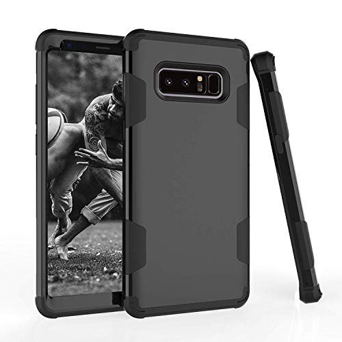(Galaxy Note 8 Case, AOKER [New] [Perfect] 3 in 1 Shockproof Hybrid Heavy Duty High Impact Hard Plastic +Soft Silicon Rubber Armor Defender Case Cover for Samsung Galaxy Note 8 (Black))