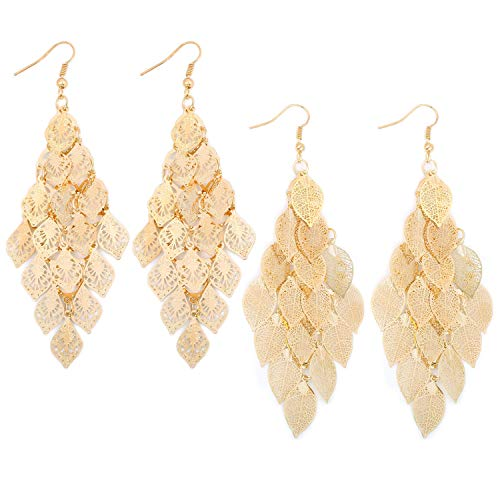 Set of 2 14K Gold Plated Large Dangling Leaf Tiered Long Women's Earrings