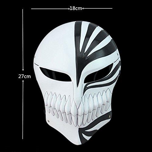 CharlyZhou's Shop Mardi Gras Masquerade Bleach Ichigo Kurosaki Full Hollow Halloween Cosplay Movie Theme Mask Fancy Dress CosPlay Bleach Kurosaki Ichigo Mask (black)