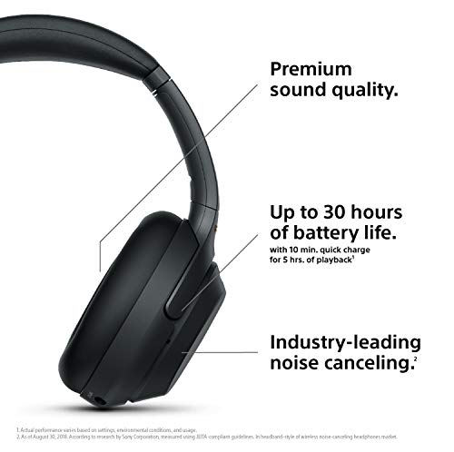Sony WH1000XM3 Noise Cancelling Headphones, Wireless Bluetooth Over the Ear Headset – Black (2018 Version) 3