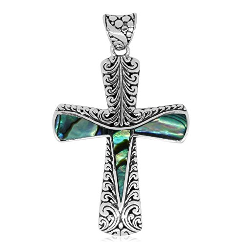 Abalone Cross Pendant (Abalone Shell Sterling Silver Cross Pendant without Chain)