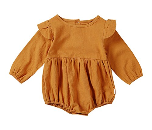 Twin Girl Halloween Costumes (Qin.Orianna Toddler Baby Girl Twins Romper,Fly Long Sleeve Ruffles Outfit Clothes (6-12M, Pumpkin))
