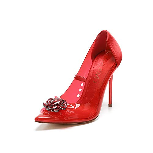 (Mackin J 188-6 Women's Pointed Toe Clear PVC Stiletto High Heel Pumps with Stones(5.5, Red))