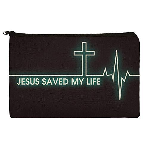 Jesus Saved My Life EKG Heart Rate Pulse Religious Christian Pencil Pen Organizer Zipper Pouch Case