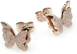 Aegean Jewelry Titanium Lady's Butterfly Charming Stud Earring with a Gift Box and a Free Small Gift