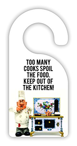 Too Many Cooks Spoil the Food. Keep Out Of The Kitchen! Room Door Sign Hanger - Hardboard - Glossy Finish by Jacks Outlet