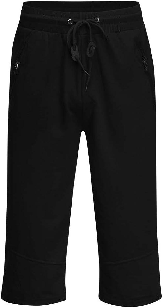 Mens Casual Summer Joggers Solid Pocket Drawstring Zipper 3//4 Pants Trouser