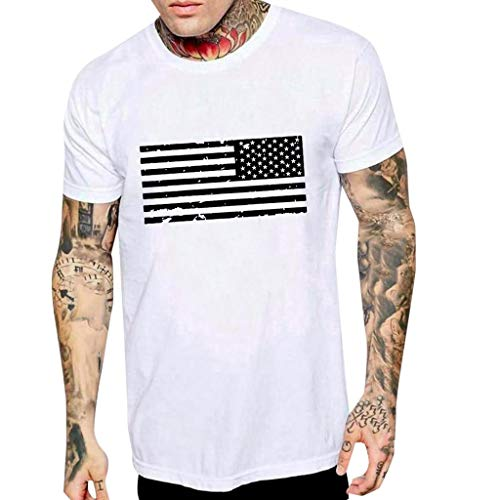 Zackate Mens Striped American Flag Printed Summer Short Sleeve T-Shirts Top Casual Loose Tees Shirts White (Gta Stores Furniture)