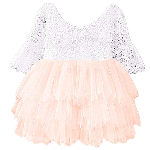 2Bunnies Girl Beaded Peony Lace Back A-Line Tiered Tutu Tulle Flower Girl Dress (Pink Bell Sleeve, 6 Months)