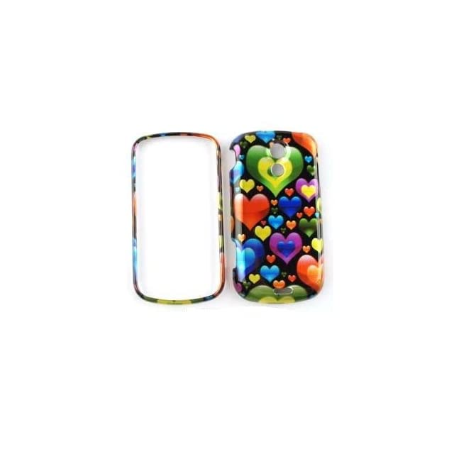 SAMSUNG EPIC 4G Transparent Design Colorful Hearts in Different Sizes HARD PROTECTOR COVER CASE / SNAP ON PERFECT FIT CASE