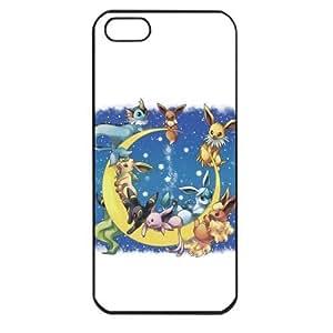 Pokemon Popular Cute Eevee Pikachu Apple iPhone 5 TPU Soft Black or White Cases (Black)