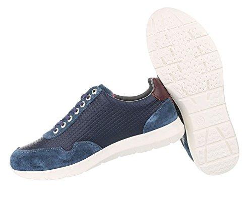 Herren Schuhe Sneaker Leder Schnürer Modell Nr.4 Blau