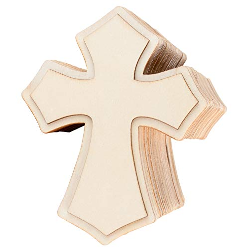 24-Pack Unfinished Wood Cross Cutouts - 3.1 x 3.9-Inch Wood Cross Shapes for Kids DIY Craft, Religious Decoration