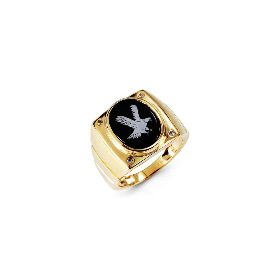 Mens 10k Yellow Gold Round Diamond Oval Onyx Eagle Ring Jewelry