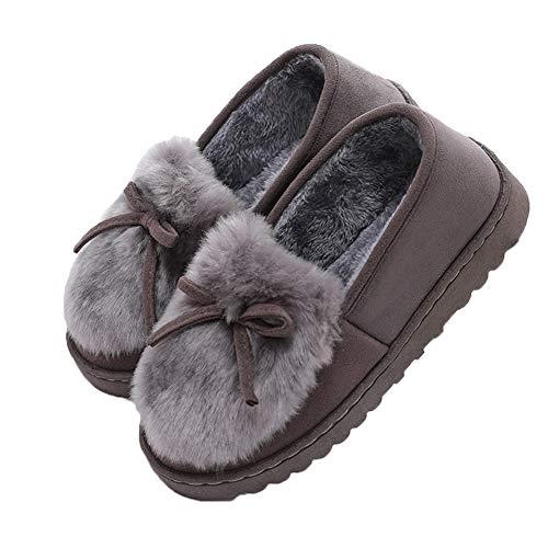 Grigio Per Pantofole Scarpe Interno Pavimento Kanggest Neve Cotone Clog 37 35 Da Nero House In Donne Scarponi Antiscivolo Adulte Fodera Invernali Peluche R7d74nvx
