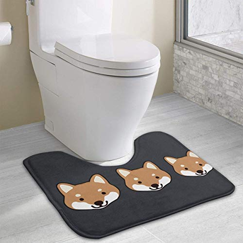 Dealbert Shiba Inu Faces Contour Bath Rugs,U-Shaped Bath Mats,Soft Memory Foam Bathroom Carpet,Nonslip Toilet Floor Mat 19.2″x15.7″