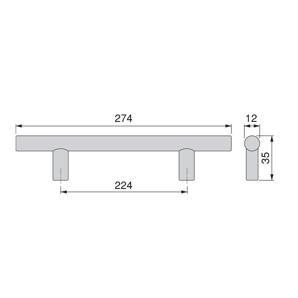 Emuca 9156551 Tirador para mueble /Ø12mm intereje 128mm en acero acabado n/íquel satinado 1 unidad