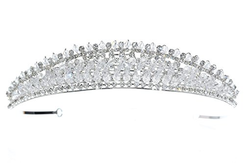 Radiant Rhinestone Crystal Beads Bridal Tiara Crown T1198 ()