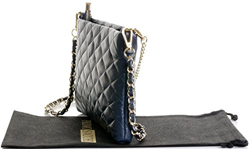Quilted Italian Strap Bag 2 Slim Sacchi Blue Primo Shoulder Leather Navy Stylish 5EZ66qa