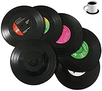 Bllatta Spinning retro del disco de vinilo bebidas Posavasos Mat 6pieces / Set: Amazon.es: Ropa y accesorios