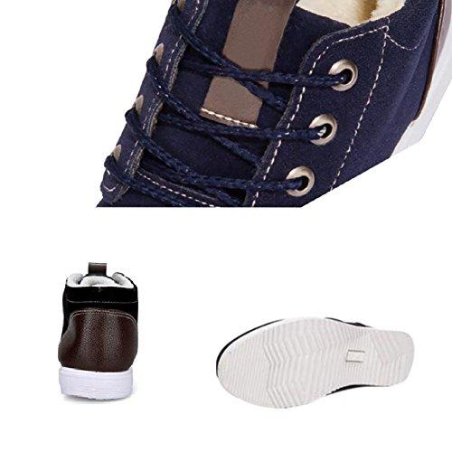 Lace Moda fodera pelliccia up Stivali Uomo Hzjundasi Casual Sneaker Scarpe in Blu Caldo sportive traspiranti piatti Inverno Outdoor U8nP8x7