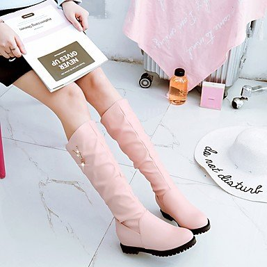 Best 4U? Women's Shoes PU Fall Winter Comfort Boots Flat Heel Round Toe Rhinestone For Outdoor Office & Career Blushing Pink Black White Black LUKFlbzrvj