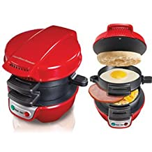 Hamilton Beach Breakfast Sandwich Maker is the perfect Appliance for your Kitchen. This Modern Sandwich Maker in red is the Perfect Gift, Garanteed