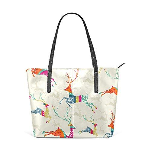 Schultertasche Leder und COOSUN PU Frauen Tasche für Weihnachten Handtasche Rentier Handtaschen Muster Frohe xOYOqX