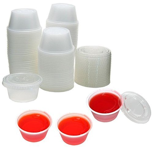2 ounce Disposable Portion Cups. Souffle Cups. Jello Shot Salad Dressings, Sauces,Cups - With Lids [100 Pack]