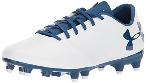 (Under Armour Magnetico Select JR FG Soccer Shoe, White (101)/Moroccan Blue, 4)