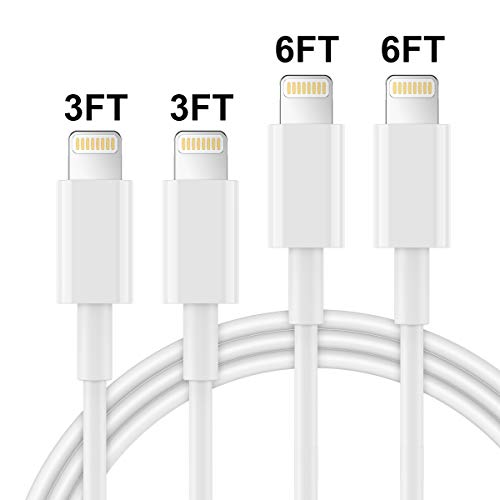 AUNC iPhone Charger 4PACK 3/3/6/6Feet Long USB Charging Cable High Speed Connector Data Sync Transfer Cord Compatible with iPhone Xs Max/X/8/7/Plus/6S/6/SE/5S iPad
