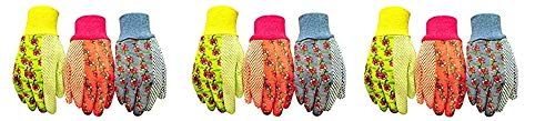 G & F 1852-3 Women Soft Jersey Garden Gloves, Women Work Gloves, 3-Pairs Green/Pink/Blue per Pack (3-(Pack)) by G & F Products (Image #1)