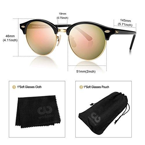 marco W4246 de con de Pink negro UV vendimia Gafas Frame la para de cristal redondas mujeres Black protección de la Wenlenie Mirror sol lente HB0PIwHq