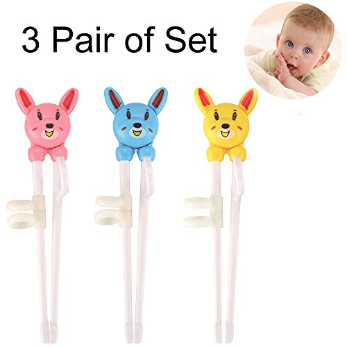 3 PCS Training Chopsticks for Kids, Beginner Chopstick Helpers Practice for Adults, Trainer Child How to use Chop Sticks, Learning Stainless Flatware Anti-slip Right Handed Training Helper Chopsticks ()